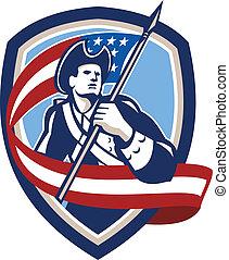 Amerikanischer Patriot, der Flaggenschild schwingt.