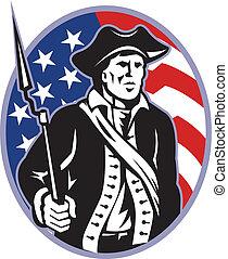 Amerikanischer Patriot mit Bajonettgewehr und Flagge