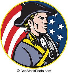 Amerikanischer Patriot mit Flagge