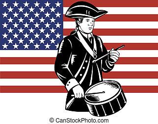 Amerikanischer Patrioten-Drummer mit Flagge