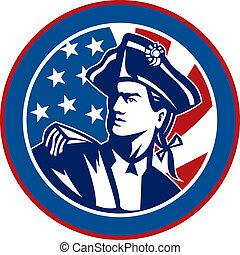 Amerikanischer Revolutionär mit Stars und Streifenflagge im Hintergrund in einem Kreis