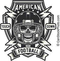 Amerikanisches Fußballschädel Emblem.