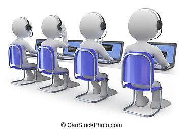 Angestellte arbeiten in einem Callcenter