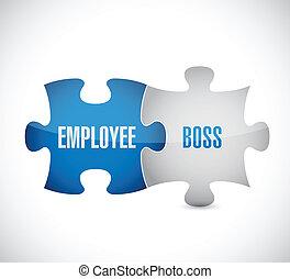 Angestellter von Boss Puzzle Puzzleteile Illustration Design.