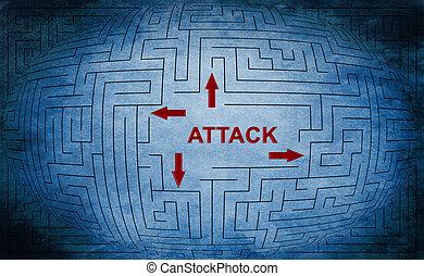 Angriffs-Labyrinth-Konzept.