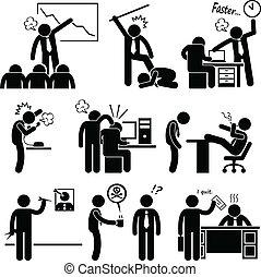 Angry Boss misshandelt die Angestellten.