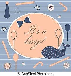 ankunft, junge, announcement., card., reizend, announces, dusche, geburt, einladung, baby, wal