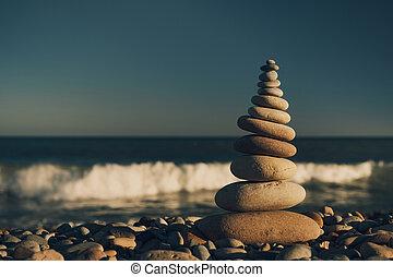 ansicht, meer, steine, pyramide