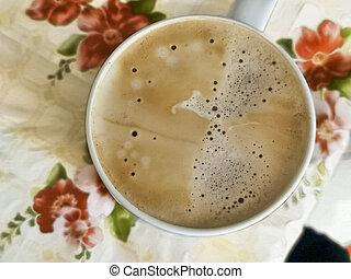 ansicht, schaum, latte, tisch, getränk, becher, bierschaum, becher, auf., top., bohnenkaffee, cappuccino, weißes, kueche , schließen, morgen