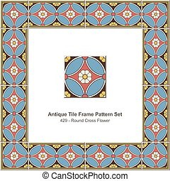 Antike Fliesen-Rahmen-Muster setzt Retro runde Kreuzblüte.