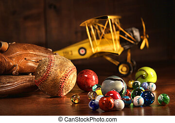 antikes , baseball, altes , handschuh, spielzeuge