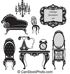 antikes , satz, möbel