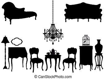 antikes , vektor, möbel