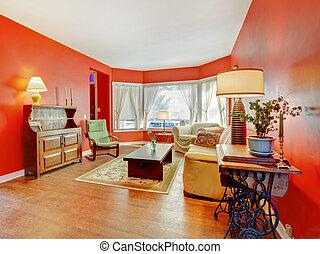 antikes , wohnzimmer, furniture., hartholz, groß, rotes
