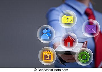 anwendungen, frau, smartphone, geschaeftswelt
