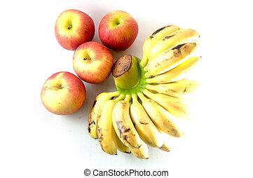 Apfel und Banane.