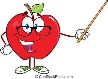 Apfellehrer mit einem Zeiger