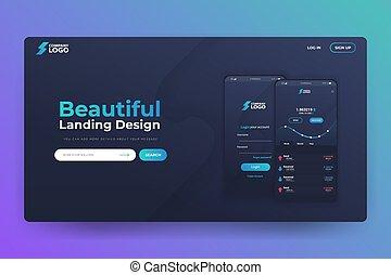 app, website, landung, seite, vektor, design, bitcoin, schablone