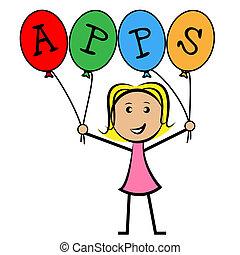 Apps Ballons stellt Anwendungssoftware und Kinder dar.