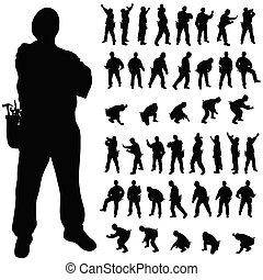 Arbeiterschwarze Silhouette in verschiedenen Posen