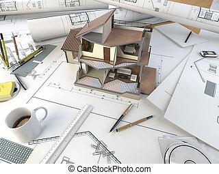Architektentisch mit Sektionsmodell