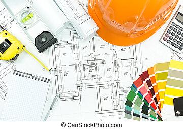 Architektur-Hintergrund mit Werkzeugen.