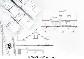 Architekturzeichnung und Arbeitswerkzeuge.