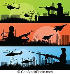 Armeesoldaten, Flugzeuge, Hubschrauber, Waffen und Transport in der städtischen Industrielandschaft, Landschaftsvektor