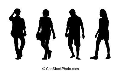 Asiaten, die draußen Silhouetten laufen, sind 3.