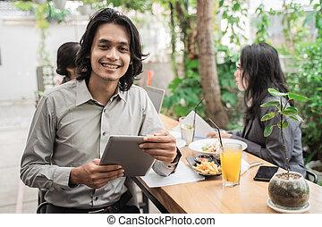 asiatisch, heiter, mannschaft, junger, geschäftsporträt