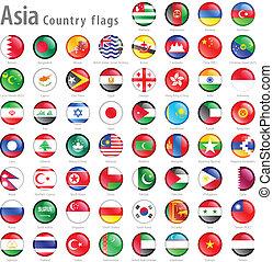 Asiatische Flaggenknöpfe eingestellt