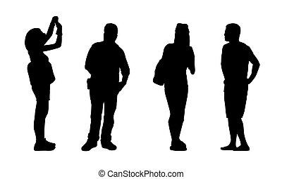 Asiatische Leute stehen draußen Silhouetten Set 3.