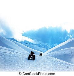 atv, berge, verschneiter
