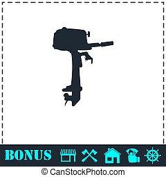 Außenbord-Boot-Motor-Icon flach