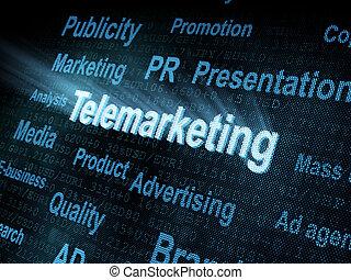 Auf dem digitalen Bildschirm ist das Wort Telemarketing