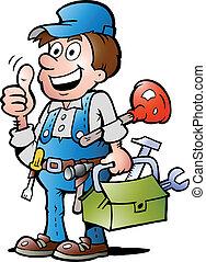 auf, heimwerker, daumen, klempner, geben