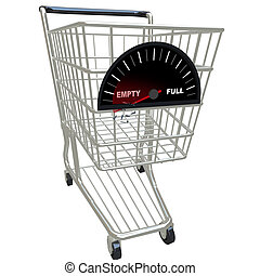 Auf leeren Einkaufswagen