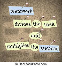 aufgabe, gemeinschaftsarbeit, multiplies, erfolg, teilt