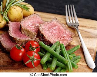 aufgeschnitten, abendessen, steak