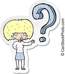 Aufkleber einer Cartoon-Frau mit Frage.