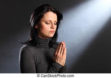 augenpaar, frau, junger, religion, moment, geschlossene, gebet