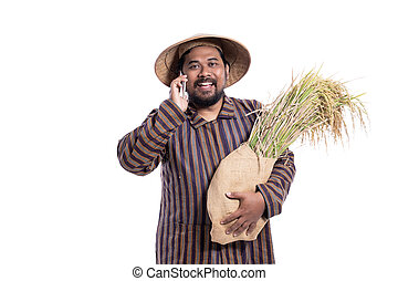 aus, beweglich, asiatisch, landwirt, telefon, weißes, freigestellt, gebrauchend