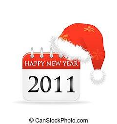 aus, kappe, santa, jahr, kalender, 2011