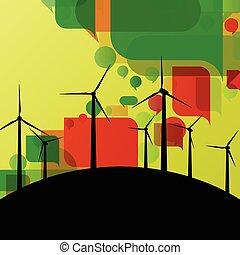 ausführlich, windmühlen, ökologie, bunte, elektrizität, abbildung, silhouetten, generatoren, sammlung, hintergrund, wind