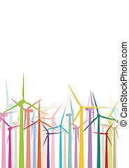 ausführlich, windmühlen, ökologie, bunte, elektrizität, abbildung, silhouetten, vektor, generatoren, sammlung, hintergrund, wind
