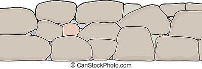 Ausgeschnittene kleine Steinmauer.
