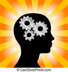 ausrüstung, frau- denken, kopf, orange, profil, gelber , strahlen