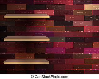 ausstellung, 10, farbe, regal, eps, wood., leerer
