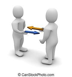 Austausch oder handelspolitische Illustration. 3D, Bild.