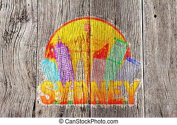 australia, hintergrundfarbe, skyline, holz, sydney, illustrati, kreis